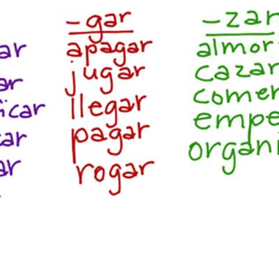 Preterite Car Gar Zar Verbs Chart