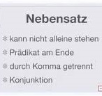 Nebensatz Vocabulary