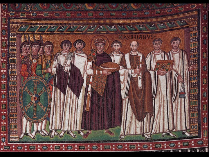 justinian bishop and attendants Figure 122 'justinian' mosaic panel from the apse wall of the basilica  the (first)  bishop who presided over the construction of the church, bishop  in the apse,  christ and his attendants are depicted against a golden ground.